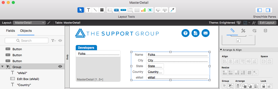 Edit Grouped Objects in FileMaker 17