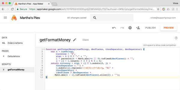 App Maker calculations screenshot 4