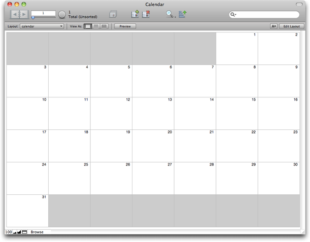 Creating calendars in FileMaker Pro