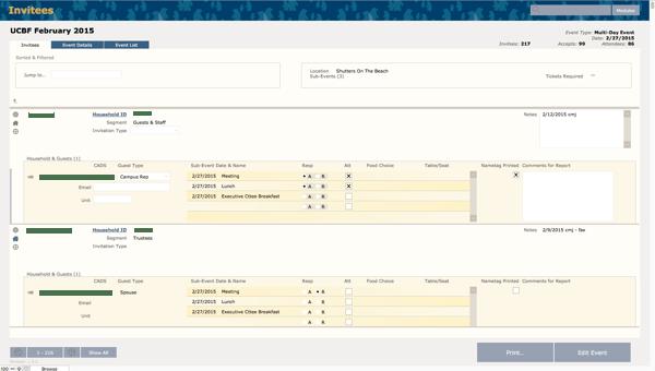 Event management system using the FileMaker Platform