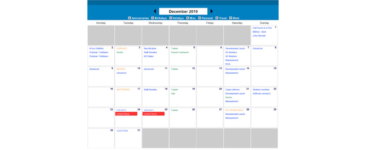 Update: How to Create Calendars in FileMaker with Monday Start of Week
